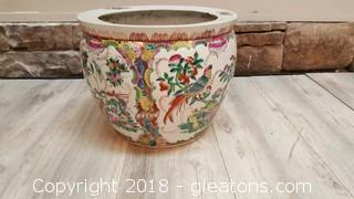 Large Hand Painted Vintage Oriental Planter/Pot/Vase