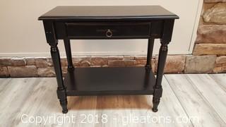 Black Wood (1) Drawer Side Table With Bottom Shelf