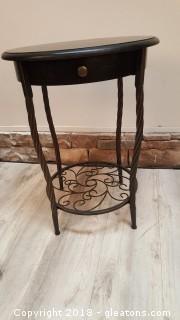 Black Wood/Metal Legs Round Side Table