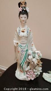 Vintage It And Painted Chinese Porcelain Figurine