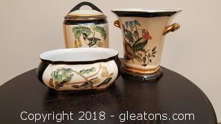 """""""Toyo"""" Porcelain Set Of (3) Canister/Vase/Bowl"""