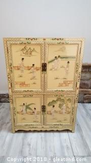 Large Oriental/Mother Of Pearl Hand Carved Detail Chest/Armoire