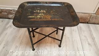 Vintage Metal Tray/T.V. Tray With Wooden Bamboo Look Stand