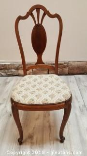 Vintage Italian Wood Back Covered Seat Accent Chair