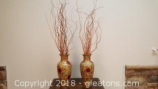 Pair Of Large Oriental Gold Trim Vases