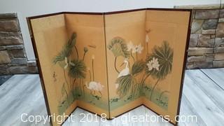 VGUC Japanese Byobu Chinese Hand Painted Ducks In Flight 4 Panel Folding Screen