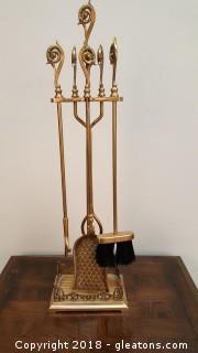 Brass Ornate Handles Fireplace Tool Set