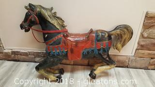 Large Vintage Hand Painted Horse Wooden