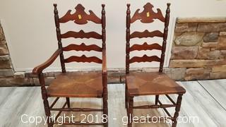 Set Of (2) Oak Ladder Back Vintage Farmhouse Kitchen Chairs