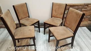 Set Of (4) Tan Suede Covered Dining Chairs