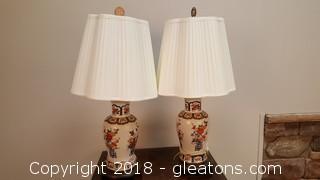 PR Of Large Oriental Glass Wood Pedestal Vintage Lamps