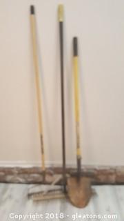 Set Of Yard Tools Shovel/Make/Rock Spreader