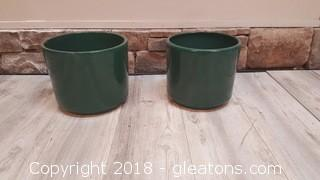 Set Of (2) Hunter Green Flower Pots