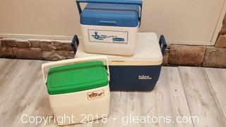 (3) Vintage Ice Coolers Coleman, Rubber Made, Igloo