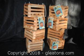 Set Of Eight Square Cedar Baskets