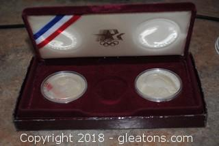1984 Proof Los Angeles Olympic Set Of 2 Silver Dollars