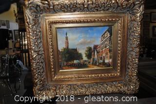 Heavy Ornate Gold Toned Framed Cityscape Printing