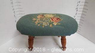Vintage Style Needlepoint Cross Stitch Small Footstool