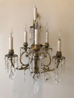 Antique Italian Crystal Wall Sconce B