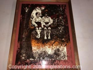 Print On Glass. 2 Young Rural Boys in Tree. #1094. Framed