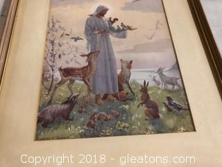 Jesus W/Little Animals Print