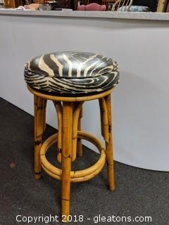 Zebra Bar Stool Swivels Bamboo Legs