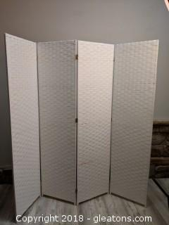 """White Privacy Screen 4 Panels """"Linen Tweed Pattern"""""""