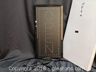 """Led New In Box """"Open"""" Sign Vertical"""