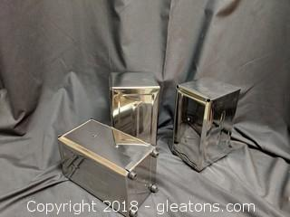 Set Of 3 Shiny Silver Napkin Holders Commercial Use
