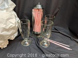 New Set Of 10 Old Fashioned Soda Glasses W/Straw Holder Commercial Use