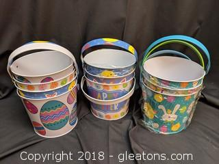 Set Of 10 Easter Tin Pails New W/Handles