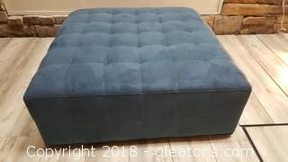 Large Country Blue Suede Cocktail Ottoman Like New On Rollers