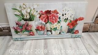 """2ft x 3ft Canvas Floral Print """"Like New"""""""