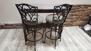 Stainless Top Kitchen Table/Island With 2 Covered Top Wrought Iron Swivel Chairs
