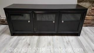 Black T.V. Stand/Console With (3) Wood/Glass Doors