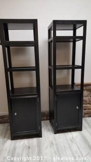 PR. Of Black Shelving Units (2) With Shelves And Storage Cabinet On Bottom With Shelf