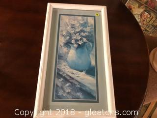 Breckland BLue Shaded Vase Framed Piece