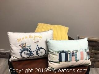 (3) Piece Set Of Decorative Throw Pillows