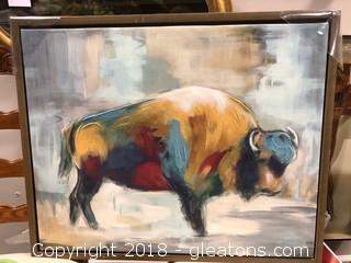 Framed Buffalo Canvas Decor