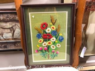 "13""x15"" Framed Stitched Art"