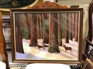 Signed Winter Framed Canvas Board