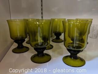 Vintage Set Of 8 Green Glass Goblets