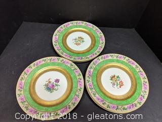 "Set Of 6 ""Black Knight"" Plates Floral Gold"