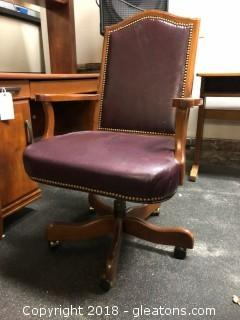 Leather Office Desk Chair W/Casters Nail Head Detail Wooden Arms/Legs