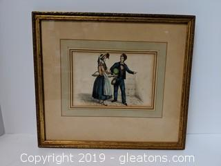 Old Original Hand Colored Copper Plate Engraving By Seligmann