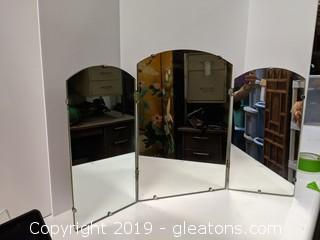 Heavy Well Made Triple Folding Table Top Mirror