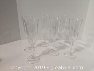 Set Of 6 Champagne Flutes Delicate Engraving