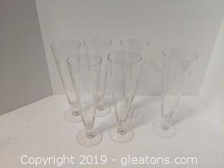 """Set Of 6 9"""" Pilsner Goblets Blush Tint Delicate Etching"""