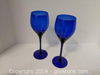 """Set Of 2 - 9"""" Wine Goblets Cobalt Blue"""