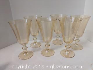 Sparkling Set Of 6 Goblet Glasses Wheat Gold Colored
